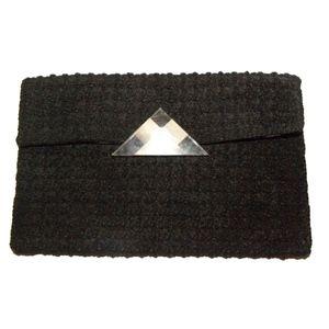 VTG 40s LARGE Black Corde Clutch LUCITE Clasp